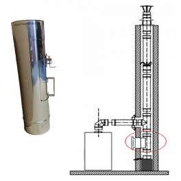 Rovný diel v pr. 120 mm s čistiacim otvorom (krytkou v rozmere 180 x 135 mm) v hr. 0,5 mm v dĺžke 500 mm - Kominus