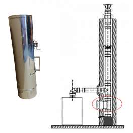 Rovný diel v pr. 130 mm s čistiacim otvorom (krytkou v rozmere 180 x 135 mm) v hr. 0,5 mm v dĺžke 500 mm - Kominus